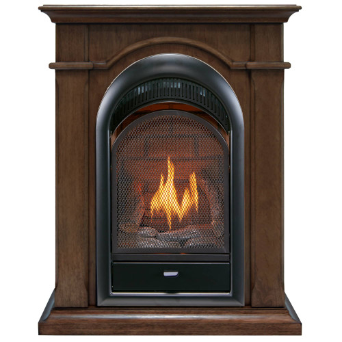 Bluegrass Living Vent Free Propane Gas Fireplace System - 10,000 BTU, T-Stat Control, Walnut Finish.