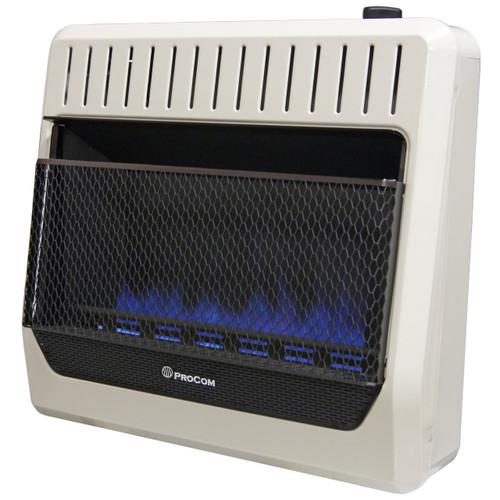 ProCom Heating Propane Gas Vent Free Blue Flame Gas Space Heater - 30,000 BTU, T-Stat Control .