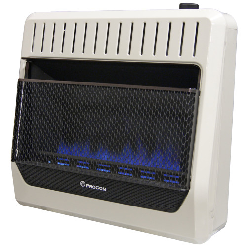 ProCom Heating Natural Gas Vent Free Blue Flame Gas Space Heater - 30,000 BTU, T-Stat Control