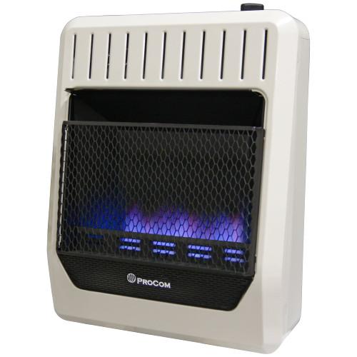 ProCom Heating Propane Gas Vent Free Blue Flame Gas Space Heater - 20,000 BTU, T-Stat Control