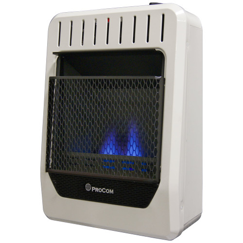 ProCom Heating Propane Gas Vent Free Blue Flame Gas Space Heater - 10,000 BTU, T-Stat Control.