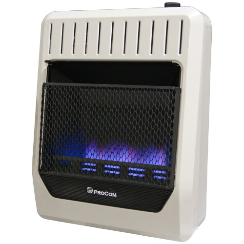 ProCom Heating Natural Gas Vent Free Blue Flame Gas Space Heater - 20,000 BTU, T-Stat Control