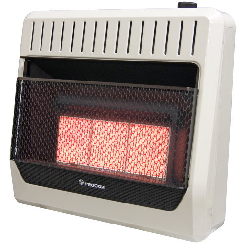 ProCom Heating Natural Gas Vent Free Infrared Gas Space Heater - 30,000 BTU, T-Stat Control.