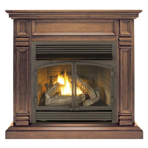 ProCom Dual Fuel Ventless Gas Fireplace System - 32,000 BTU, Remote Control, Chocolate Finish