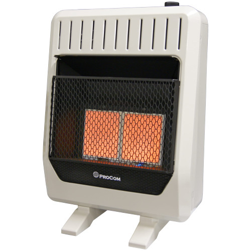 ProCom Dual Fuel Ventless Infrared Plaque Heater With Blower and Base Feet - 20,000 BTU, T-Stat Control.