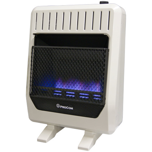 ProCom Ventless Dual Fuel Blue Flame Wall Heater With Blower and Base Feet.
