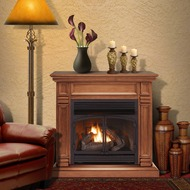 ProCom Dual Fuel Ventless Gas Fireplace System - 32,000 BTU, Remote Control, Apple Spice Finish - Model# FBNSD400RT-2-AS