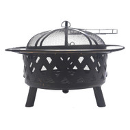 Bluegrass Living 30 Inch. Roadhouse Steel Deep Bowl Fire Pit with Swivel Height Adjustable Cooking Grid, Weather Cover, Spark Screen, Log Grate, Ember Catcher, and Poker, Model# BFPW30RH