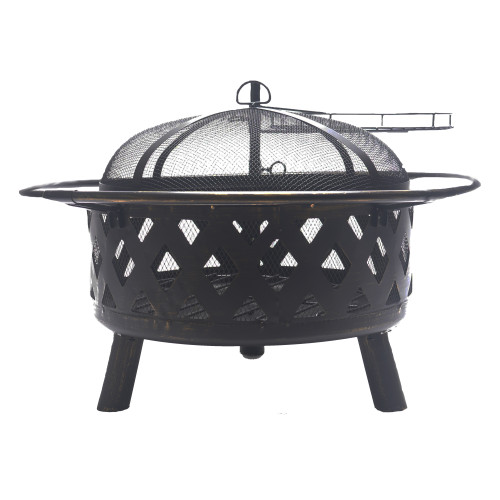 Bluegrass Living 30 Inch. Roadhouse Steel Deep Bowl Fire Pit with Swivel Height Adjustable Cooking Grid.