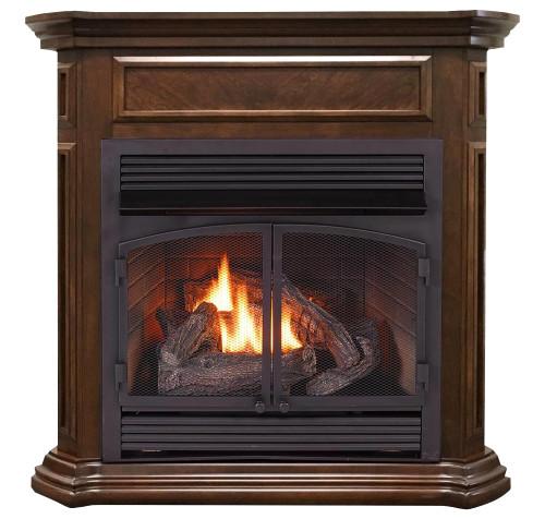 ProCom Dual Fuel Vent Free Gas Fireplace System - 32,000 BTU, T-Stat Control, Nutmeg Finish