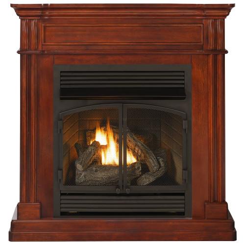 ProCom Dual Fuel Vent Free Gas Fireplace System - 32,000 BTU, T-Stat Control, Autumn Spice Finish