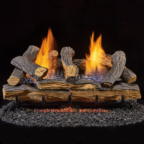 Duluth Forge Reconditioned Ventless Dual Fuel Log Set - 24 in. Split Red Oak 33,000 BTU.