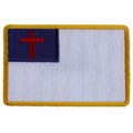 Forever And Always carries Biker Patches;Biker Patches/Christian Biker Patches Christian Flag yellow border