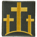 Forever And Always carries Biker Patches;Biker Patches/Christian Biker Patches Three Yellow Crosses on green