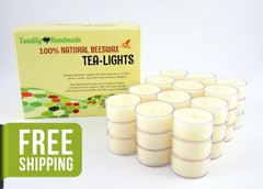 36 Beeswax Tea Light Candles in Ivory - Plastic Cups