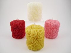Beeswax Solid Detailed Rose Pillar Candle in Assorted Colors
