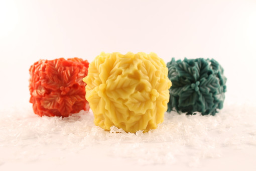 Beeswax Solid Holly Ball Pillar Candles in Assorted Colors