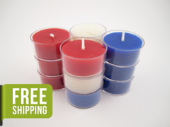 12 Beeswax Tea Light Candles in Red, White and Blue