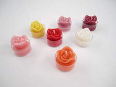 4 Beeswax Rose Tea Light Candles in Assorted Colors