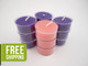 12 Beeswax Tea Lights in Purple and Pink