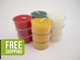 12 Beeswax Tea Light Candles in Christmas Colors