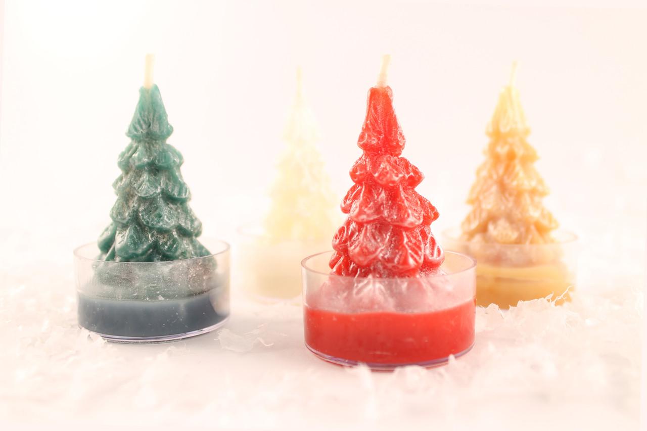 4 beeswax christmas tree tea light candles