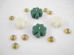 Beeswax Floating Shamrock Candles in Green and Ivory