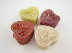 Beeswax Detailed Heart Votive Candles in Assorted Colors