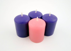 Beeswax Advent Votive Candles in Purple and Pink