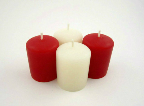 Beeswax Votive Candles in Ivory and Red