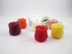 Beeswax Rosebud Wedding Votive Candles in Assorted Colors