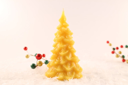 Beeswax Solid Christmas Tree Pillar Candle in Natural