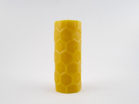 Beeswax Solid Honeycomb Pillar Candle in Natural