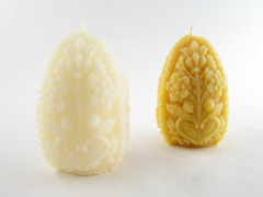 Beeswax Solid Detailed Egg Pillar Candle in Ivory and Natural