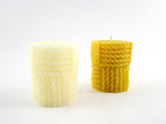 Beeswax Solid Twisted Rope Pillar Candle in Ivory and Natural