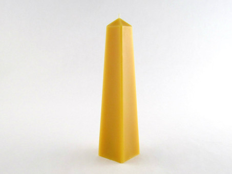 Beeswax Solid Obelisk Pillar Candle in Natural