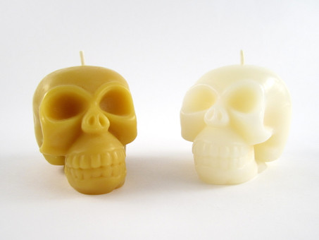 Beeswax Solid Skull Pillar Candles in Natural and Ivory