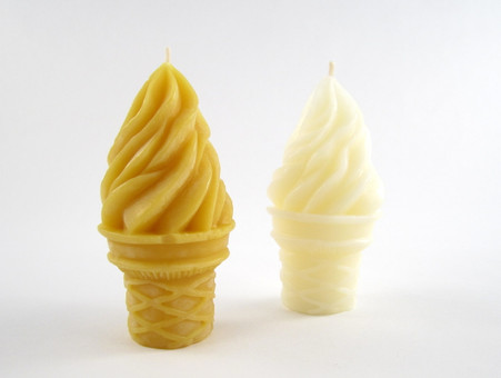 Beeswax Ice Cream Votive Candles in Natural and Ivory