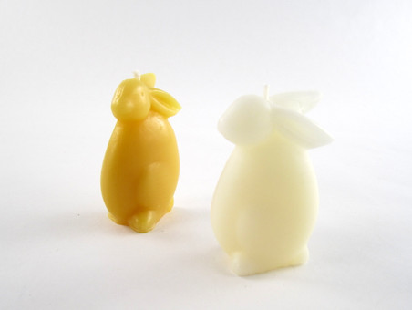 Beeswax Small Bunny Votive Candle in Natural and Ivory