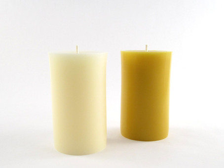 "2½"" x 4¼"" Beeswax Solid Pillar Candle in Ivory and Natural"