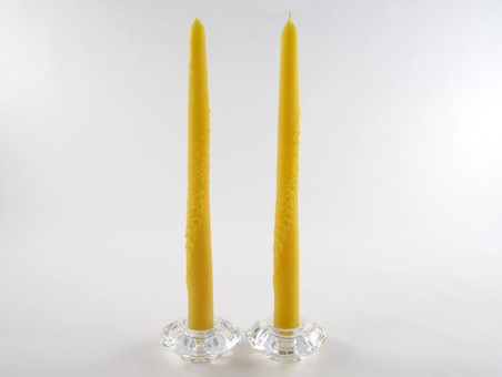 2 Beeswax Solid Decorated Taper Candles in Natural