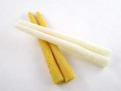 2 Beeswax Solid Decorated Taper Candles in Natural and Ivory