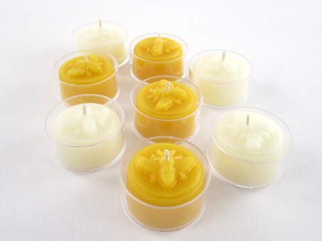 Beeswax Honeybee Tea Light Candles in Natural and Ivory
