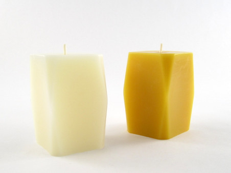 Beeswax Solid Prism Pillar Candle in Ivory and Natural