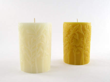 Beeswax Solid Meadow Pillar Candle in Ivory and Natural.