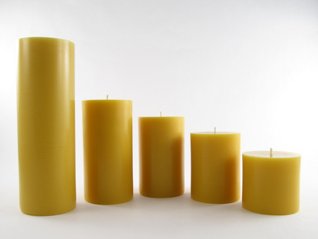 "3"" Beeswax Solid Pillar Candles in Natural in Assorted Sizes"