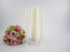 Beeswax Wedding Unity Candle Set 2 in Ivory