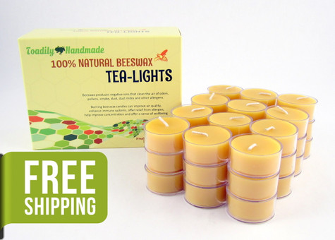 36 Beeswax Tea Light Candles in Natural - Plastic Cups