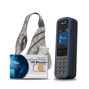 Isatphone Pro Satellite Phone Kit with Prepaid Airtime and Backpack
