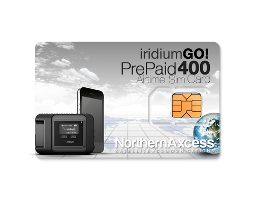 Iridium GO Prepaid 400 Data  Minutes or 200 voice min prepaid sim card